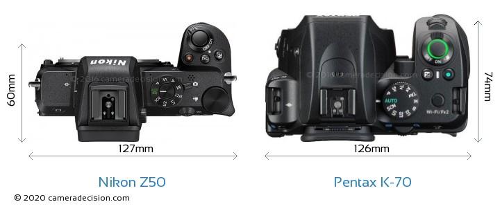 Nikon Z50 vs Pentax K-70 Camera Size Comparison - Top View