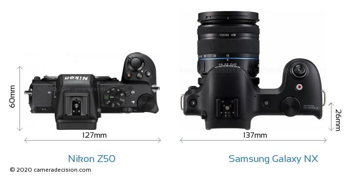 Nikon Z50 vs Samsung Galaxy NX Camera Size Comparison - Top View