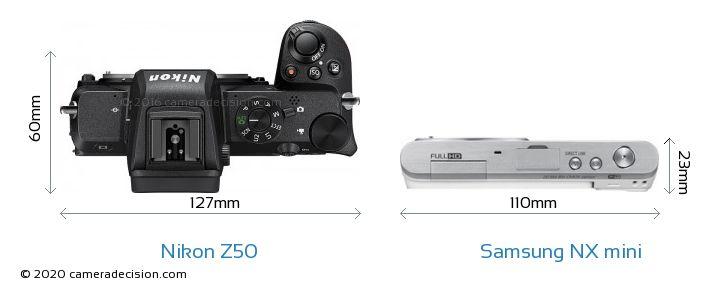 Nikon Z50 vs Samsung NX mini Camera Size Comparison - Top View