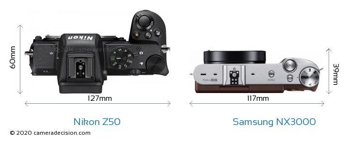 Nikon Z50 vs Samsung NX3000 Camera Size Comparison - Top View