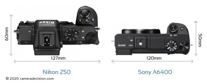 Nikon Z50 vs Sony A6400 Camera Size Comparison - Top View