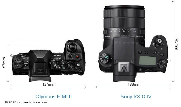 Olympus E-M1 II vs Sony RX10 IV Camera Size Comparison - Top View