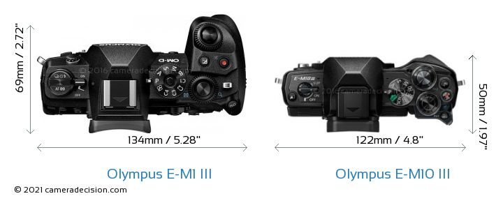 Olympus E-M1 MIII vs Olympus E-M10 MIII Camera Size Comparison - Top View