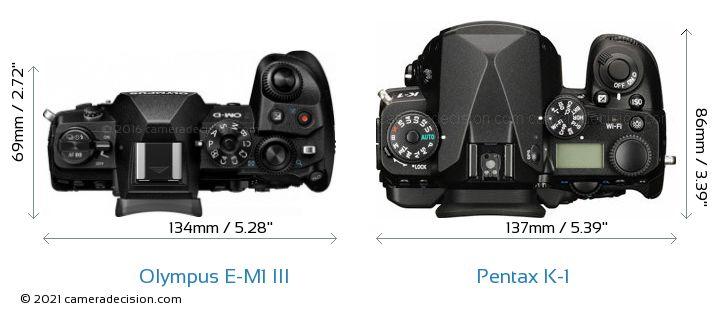 Olympus E-M1 MIII vs Pentax K-1 Camera Size Comparison - Top View