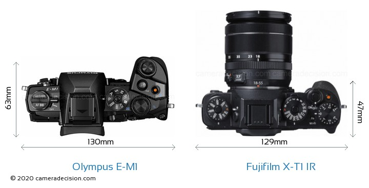 Olympus E-M1 vs Fujifilm X-T1 IR Camera Size Comparison - Top View