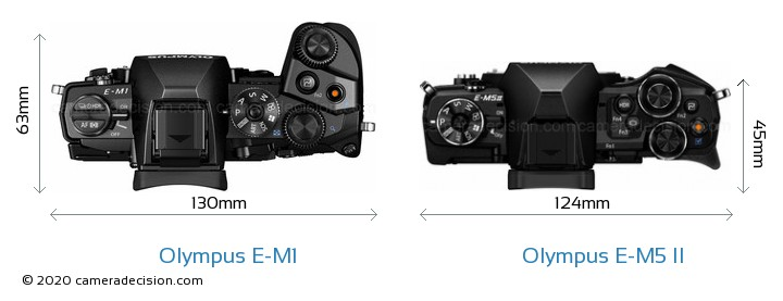 Olympus E-M1 vs Olympus E-M5 II Camera Size Comparison - Top View