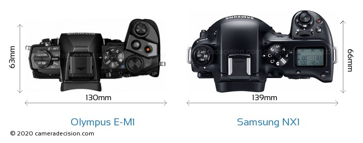 Olympus E-M1 vs Samsung NX1 Camera Size Comparison - Top View