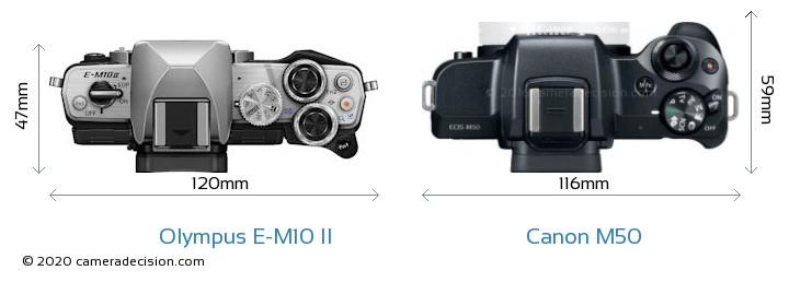 Olympus E-M10 II vs Canon M50 Camera Size Comparison - Top View