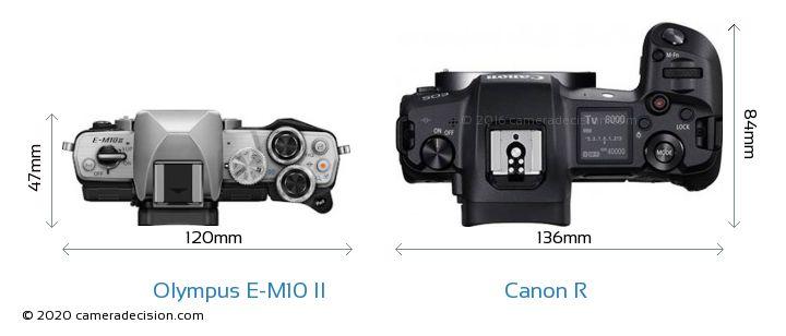 Olympus E-M10 II vs Canon R Camera Size Comparison - Top View
