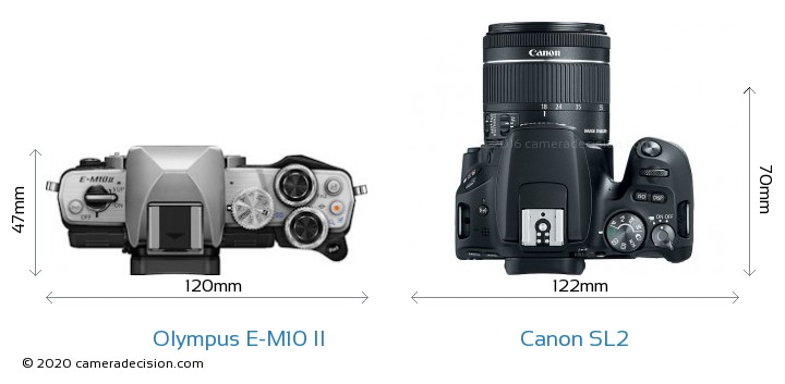 Olympus E-M10 II vs Canon SL2 Camera Size Comparison - Top View