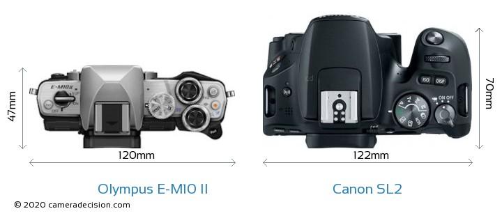Olympus E-M10 II vs Canon SL2 Camera Size Comparison - Top View