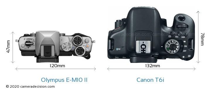 Olympus E-M10 II vs Canon T6i Camera Size Comparison - Top View