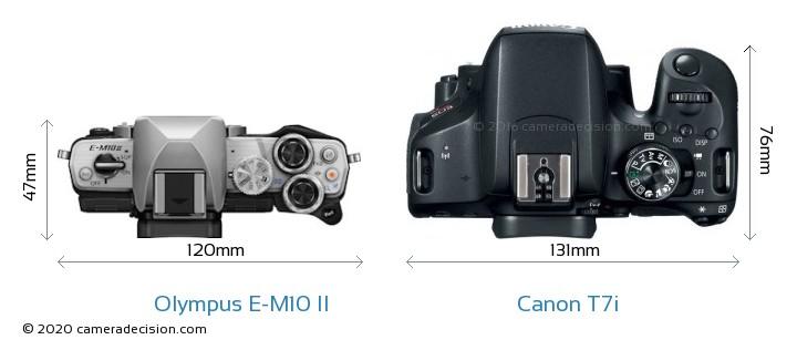 Olympus E-M10 II vs Canon T7i Camera Size Comparison - Top View