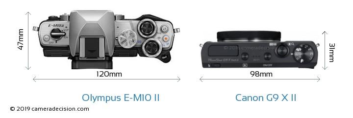 Olympus E-M10 II vs Canon G9 X II Camera Size Comparison - Top View
