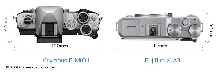 Olympus E-M10 II vs Fujifilm X-A3 Camera Size Comparison - Top View