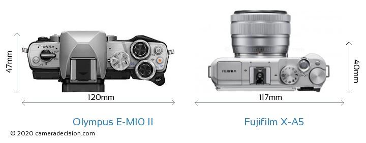 Olympus E-M10 II vs Fujifilm X-A5 Camera Size Comparison - Top View