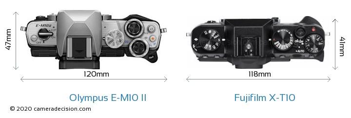 Olympus E-M10 II vs Fujifilm X-T10 Camera Size Comparison - Top View