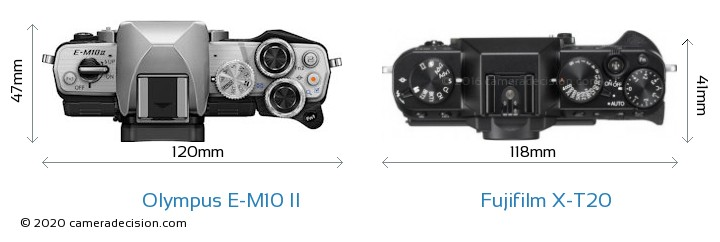 Olympus E-M10 II vs Fujifilm X-T20 Camera Size Comparison - Top View