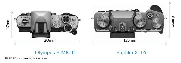 Olympus E-M10 II vs Fujifilm X-T4 Camera Size Comparison - Top View