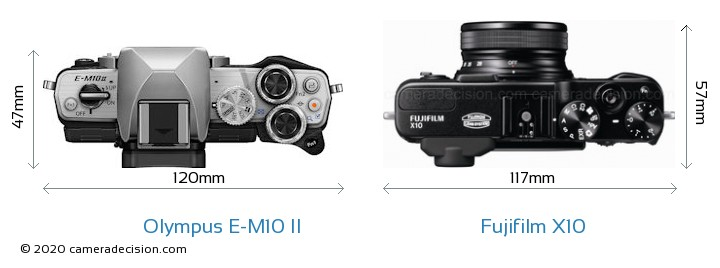 Olympus E-M10 II vs Fujifilm X10 Camera Size Comparison - Top View