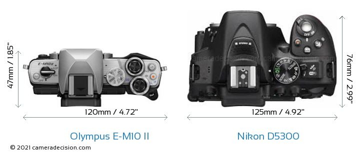 Olympus E-M10 II vs Nikon D5300 Camera Size Comparison - Top View