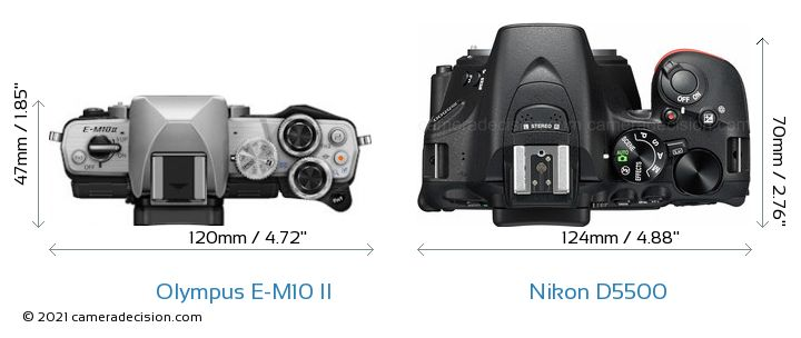 Olympus E-M10 II vs Nikon D5500 Camera Size Comparison - Top View