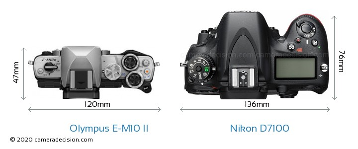 Olympus E-M10 II vs Nikon D7100 Camera Size Comparison - Top View