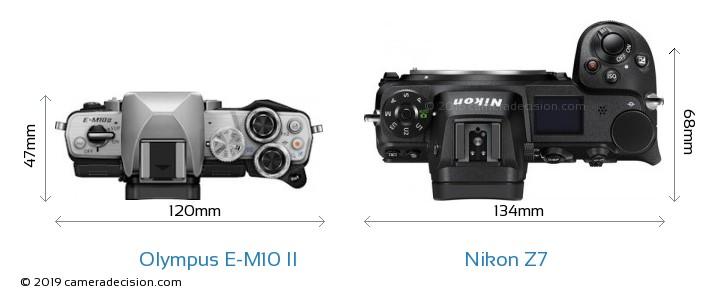 Olympus E-M10 II vs Nikon Z7 Camera Size Comparison - Top View