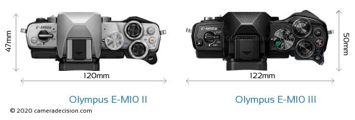 Olympus E-M10 II vs Olympus E-M10 III Camera Size Comparison - Top View