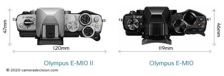 Olympus E-M10 II vs Olympus E-M10 Camera Size Comparison - Top View