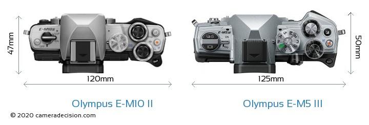 Olympus E-M10 II vs Olympus E-M5 III Camera Size Comparison - Top View
