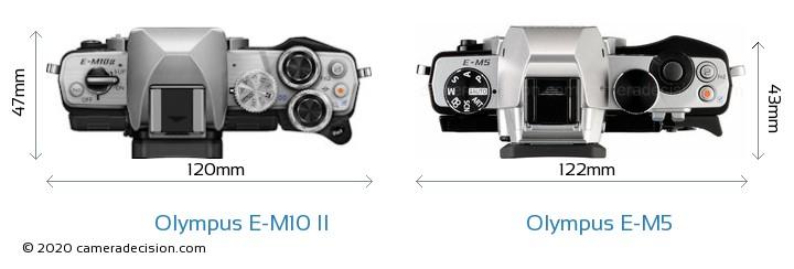 Olympus E-M10 II vs Olympus E-M5 Camera Size Comparison - Top View