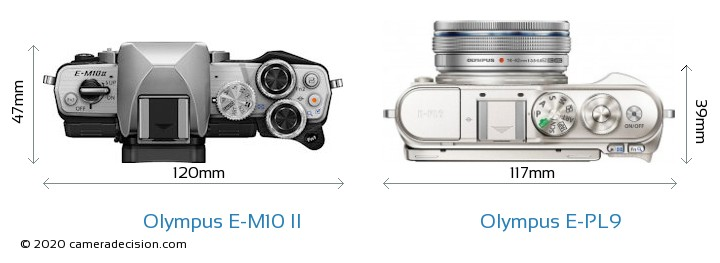 Olympus E-M10 II vs Olympus E-PL9 Camera Size Comparison - Top View