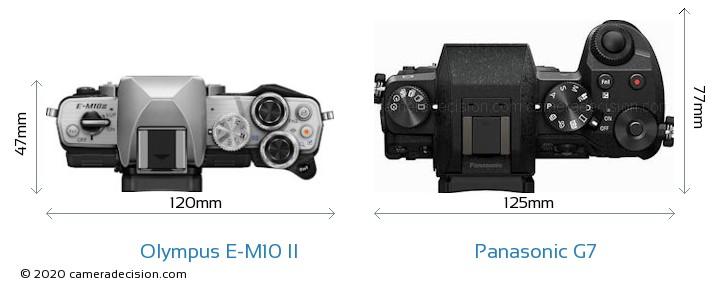 Olympus E-M10 II vs Panasonic G7 Camera Size Comparison - Top View
