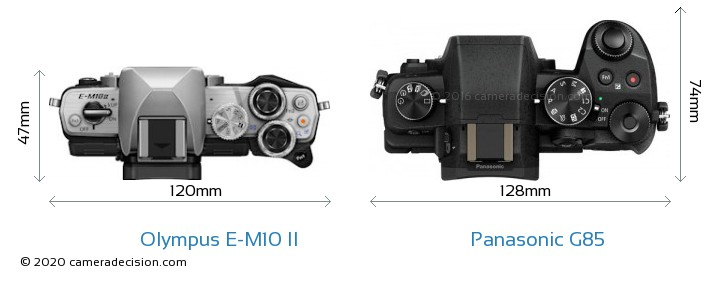 Olympus E-M10 II vs Panasonic G85 Camera Size Comparison - Top View