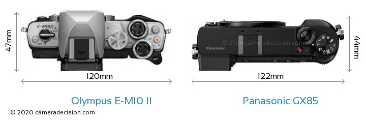 Olympus E-M10 II vs Panasonic GX85 Camera Size Comparison - Top View