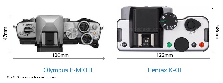 Olympus E-M10 II vs Pentax K-01 Camera Size Comparison - Top View