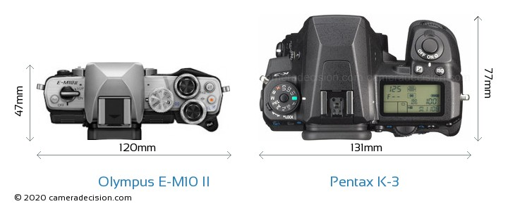 Olympus E-M10 II vs Pentax K-3 Camera Size Comparison - Top View