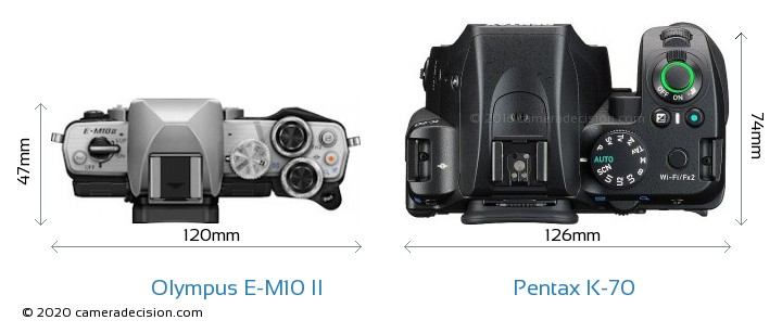 Olympus E-M10 II vs Pentax K-70 Camera Size Comparison - Top View