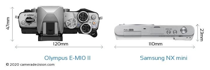 Olympus E-M10 II vs Samsung NX mini Camera Size Comparison - Top View