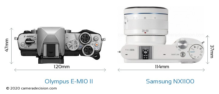 Olympus E-M10 II vs Samsung NX1100 Camera Size Comparison - Top View