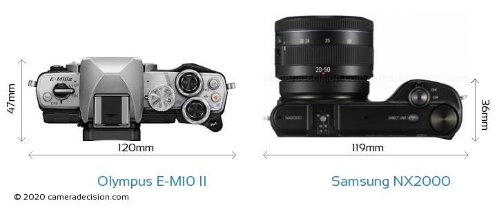 Olympus E-M10 II vs Samsung NX2000 Camera Size Comparison - Top View