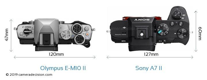 Olympus E-M10 II vs Sony A7 II Camera Size Comparison - Top View