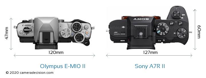 Olympus E-M10 II vs Sony A7R II Camera Size Comparison - Top View