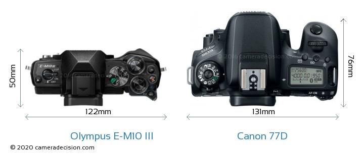 Olympus E-M10 MIII vs Canon 77D Camera Size Comparison - Top View