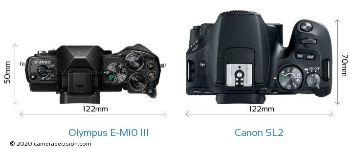 Olympus E-M10 MIII vs Canon SL2 Camera Size Comparison - Top View