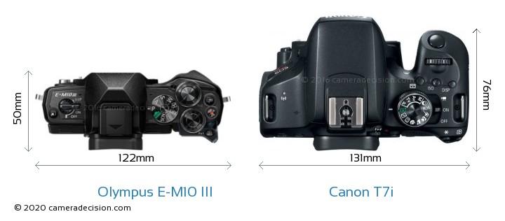 Olympus E-M10 MIII vs Canon T7i Camera Size Comparison - Top View