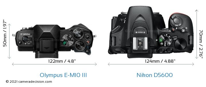 Olympus E-M10 MIII vs Nikon D5600 Camera Size Comparison - Top View