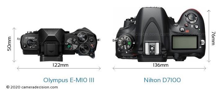 Olympus E-M10 MIII vs Nikon D7100 Camera Size Comparison - Top View