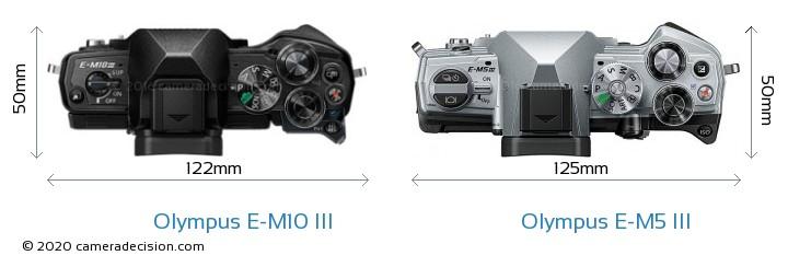 Olympus E-M10 MIII vs Olympus E-M5 III Camera Size Comparison - Top View